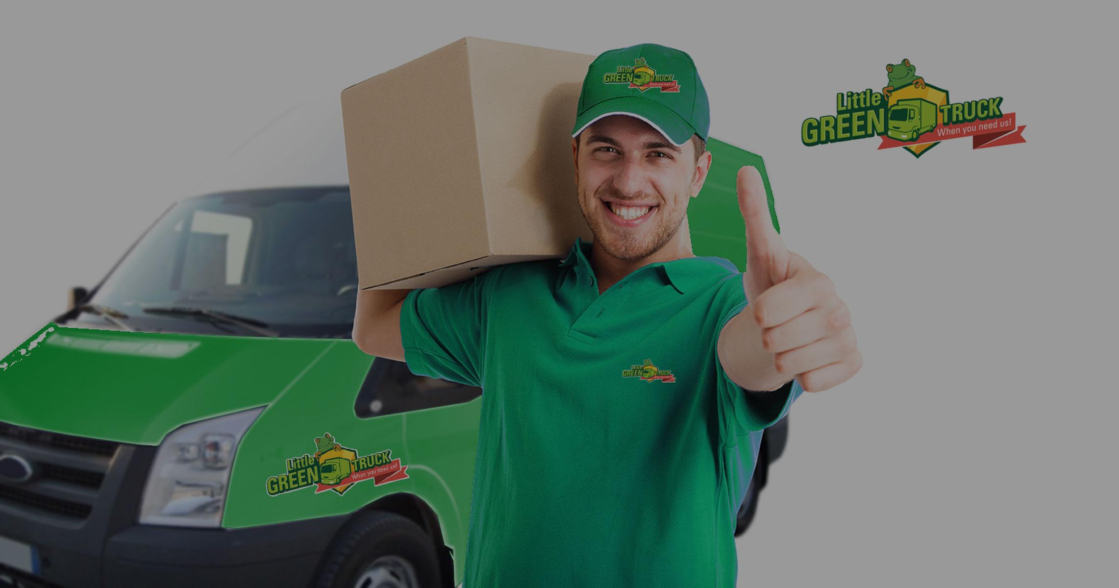 Little Green Truck - Man doing thumbs up while carrying a box